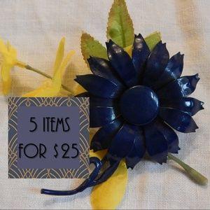 !!5 for $25!! Funky navy flower brooch